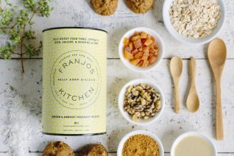 franjos kitchen cookies - container and ingredients in a flatlay